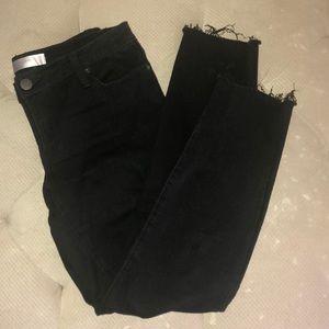 Raw edge black jeans